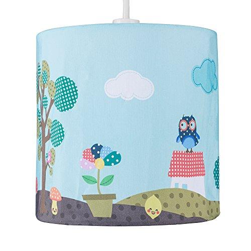 MiniSun – Bunter Lampenschirm mit einem tollen Naturmotiv für Kinder von einem Wald, Eulen,...