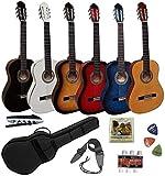 Pack Guitare Classique 4/4 (Adulte) 7/8 3/4 1/2 1/4 (Enfant) + 7 Accessoires ~ Neuve and Garantie (4/4, Noir)