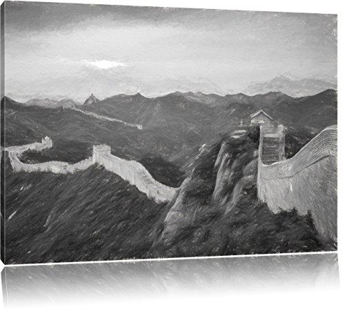 Chinesische Mauer Kunst Kohle Effekt, Format: 100x70 auf Leinwand, XXL riesige Bilder fertig gerahmt mit Keilrahmen, Kunstdruck auf Wandbild mit Rahmen, günstiger als Gemälde oder Ölbild, kein Poster oder Plakat -