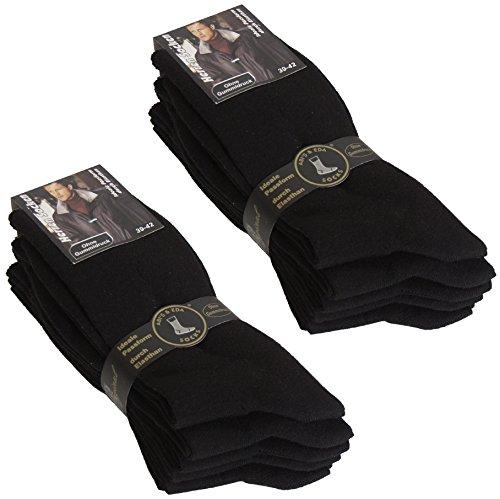 10paia di BRUBAKER calze da uomo nero-senza elastico Flash nero 39/42