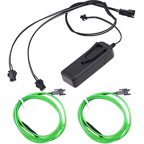 leuchtung 1m EL Kabel mit 3V Kontroller Adapter Flexibel Wasserdicht für Weihnachten Halloween Partys Kostüm Autos Dekor Geschenk ()