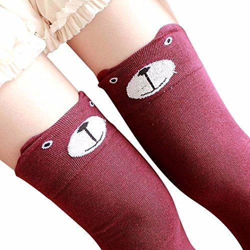 Koly_Le donne inverno Cat Orso Panda maglia sopra il ginocchio Coscia-Alti calzini caldi (Rosso)