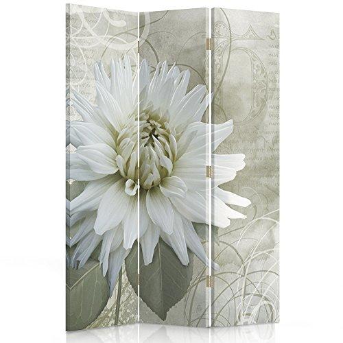 Feeby Frames Biombo Impreso sobre Lona, tabique Decorativo para Habitaciones, a una Cara, de 3 Piezas (110x150 cm), Flor, Naturaleza, Vintage, Blanco