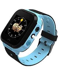 Reloj Inteligente para niños, rastreador GPS al Aire Libre cumpleaños con cámara SIM Llamadas Anti-pérdida SOS Smartwatch Pulsera para iPhone Android Smartphone en Inglès (Negro-Azul)