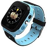 Reloj Inteligente para niños, rastreador LBS al Aire Libre cumpleaños con cámara SIM Llamadas Anti-pérdida SOS Smartwatch Pulsera para iPhone Android Smartphone en Inglès (Negro-Azul)