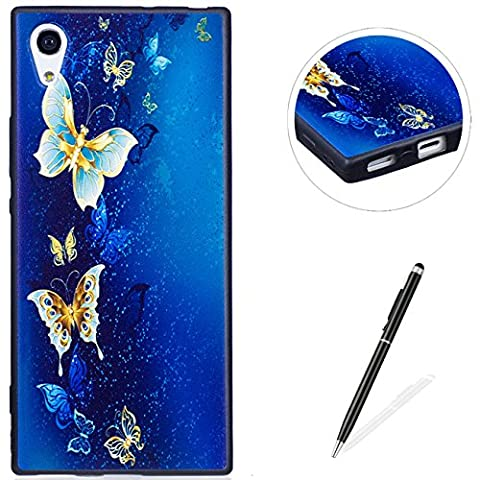 MAGQI SONY Xperia XA1 Case,Anti-Scratch Shock-Absorption Shockproof Durable Gel TPU Cover,Cute Panda Owl Animal 3D Cartoon Pattern Design For SONY Xperia XA1 Rubber Bumper Shell [with Black Stylus Pen],Premium Silicone Skin Drop Protection Case For SONY Xperia XA1 - Butterfly