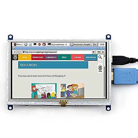 Makibes 5-Zoll-Resistive Touch Screen LCD (B) HDMI USB-Schnittstelle für Raspberry Pi / BB BLACK / Banana Pi Mainboard / Raspberry Pi 3 Modell B