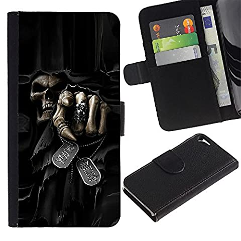 Ihec-Tech / Flip Wallet Diary PU Leather Case Cover for Apple Iphone 5 / 5S - Death Grim Reaper Skull