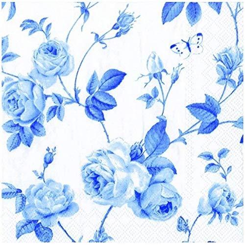 IHR Papier-Cocktail-Servietten mit Kletterrosen-Motiv, 3-lagig, weiß / blau, 20 Stück