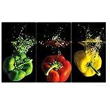 Wallario Herdabdeckplatte / Spritzschutz aus Glas, 3-teilig, 90x52cm, für Ceran- und Induktionsherde, Bunte Küche Paprika in rot gelb orange und grün im Wasser