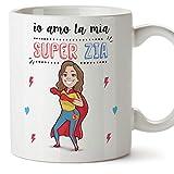 Tazza zia migliore del mondo – io amo la mia super zia – Tazza in ceramica da 350 ml Idea regalo