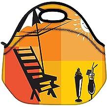 Snoogg vacaciones de verano con la palmera y sombrillas en la playa Viajes Serie 7 lleva el bolso al aire libre de picnic almuerzo asas de envase de la caja postal Fuera extraíble Carry Handle Bag Lunchbox Tote Bag Lunch Comida Para Oficina de Trabajo de la Escuela