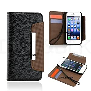 Gioiabazar Apple iPhone 5 5S 5G Leather Flip Wallet Case Cover Pouch Table Talk New Black