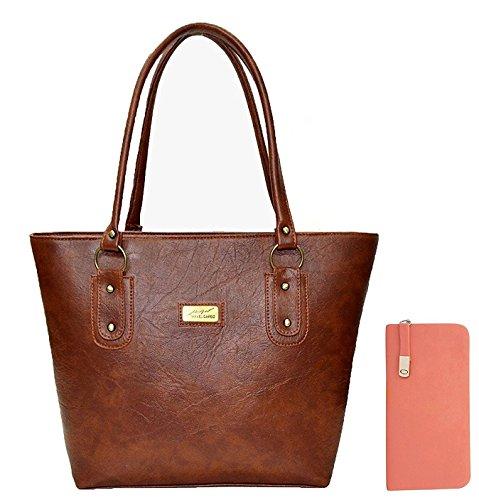 Flora Premium PU Leather Women's Handbag And Women's Wallet Clutch Combo (Dark Brown / Peach Color)