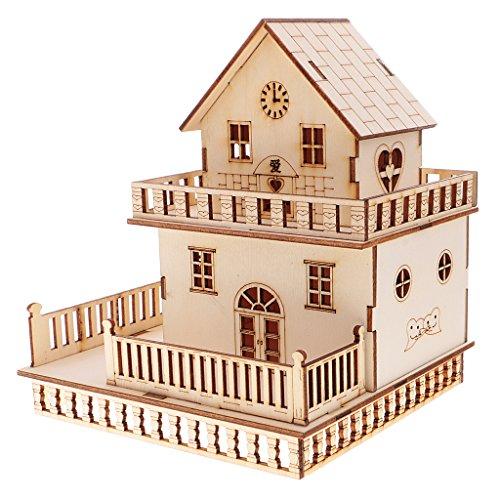 Gazechimp Miniatur 3D Villa Haus Modell Bausatz aus Holz mit LED Lichter, pädagogisches Spielzeug für Kinder ab 3 Jahren - # 3, 14x15x16.5cm