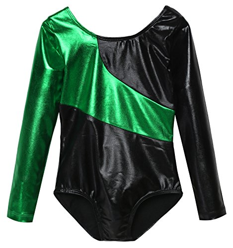 girls-elastic-long-sleeved-gymnastic-leotard-soft-shiny-one-piece-gym-suit-140age-for-7-8y-green