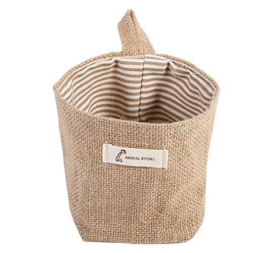 Fdit Baumwolle Leinen behindern Aufhängen Kleidung Tasche Home Gadget Lagerung Organizer faltbar Korb Bin Khaki Stripe (Mini Stripe Baumwolle Aus Bettwäsche)