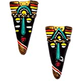 Home Decorative Terracotta Wall Hanging Multicolour Hibija Mask Pair-12.5 Cms. - Handcrafted Decorative Mask For Wall Decor, Room Decor And Gifts