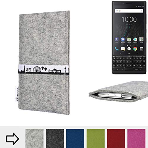 flat.design für BlackBerry KEY2 (Dual-SIM) Schutz Tasche Handyhülle Skyline mit Webband Wien - Maßanfertigung der Schutz Hülle Handytasche aus 100% Wollfilz (hellgrau) für BlackBerry KEY2 (Dual-SIM)