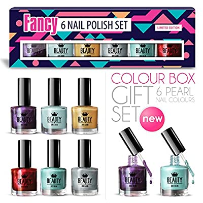6 x Luxury Nail Polish 6 Different Pearl Fancy Colours Gift Box High Quality