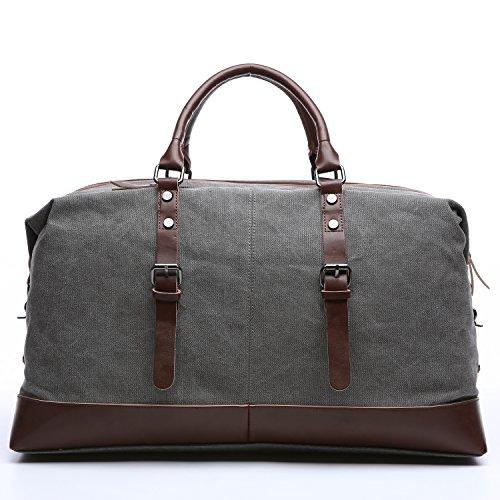 Limirror vintage Canvas Reisetasche Sporttasche weekender Tasche für Damen und Herren mit der Großen Kapazität (Grau) Grau