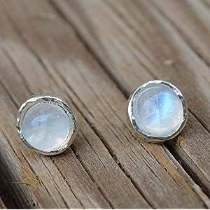 Halsketten mit Anhänger Zierliche Edelstein-Kette mit facettiertem weißem Regenbogen-Mondstein aus echtem 925 Sterling Silber/auch als Set mit Ohrringen oder Steckern/auch mit Magnetverschluß