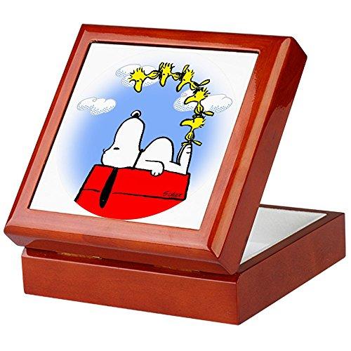 CafePress-Peanuts-Woodstock-Keepsake Box, fertig Hartholz Jewelry Box, Samt Gefüttert Memento Box mahagoni -