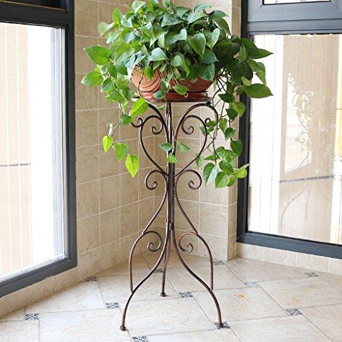 Zyn flower stand singolo lavabo soggiorno balcone interno piano semplice vaso di fiori europeo stand (colore : cioccolato colore, dimensioni : l36cm*h79cm)