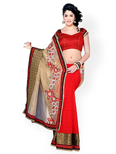 Chirag Sarees Synthetic Saree (Rr34635_Red)