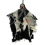 Mangotree Halloween Skelett Hänge Deko Hängedekoration Totenkopf Gruselige Befehl Stimme Grusel Sensenmann für KTV Bar Haunted House (1 Stück, Z# Schwarz weiß)