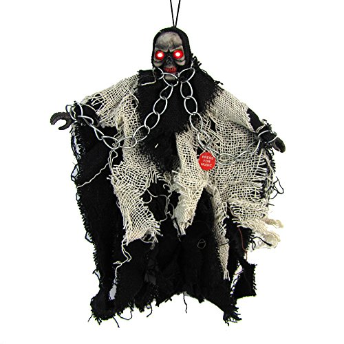 Mangotree Halloween Skelett Hänge Deko Hängedekoration Totenkopf Gruselige Befehl Stimme Grusel Sensenmann für KTV Bar Haunted House (1 Stück, Z# Schwarz - Geist Halloween-sensenmann