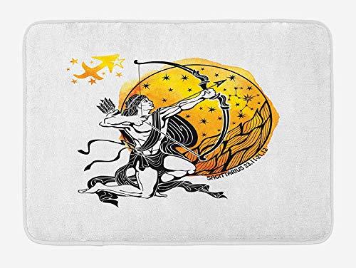 Zodiac Sagittarius Bath Mat, Ancient Greek Mythical Figure Sketch with Bow and Arrow Motif, Plush Bathroom Decor Mat with Non Slip Backing, 23.6 W X 15.7 W Inches, Marigold Black White -