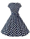 Dressystar Damen Vintage 50er Cap Sleeves Dot Einfarbig Rockabilly Swing Kleider Marinrblau Weiß Dot B L