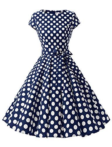 Dressystar DS1956 Robe à 'Audrey Hepburn' Classique Vintage 50's 60's Style à Mancheron Marine à Pois Blanc B XL