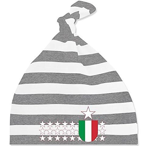 Städte & Länder Baby - Italien Stars - Unisize - Grau meliert/Weiß - BZ15S - gestreifte Baby Mütze mit Knoten / Bommel für Jungen und Mädchen