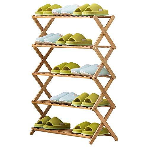 Axdwfd-Shoe rack Haushaltsschuhregal-Lagerregal 5 Schichten Bambusrahmen