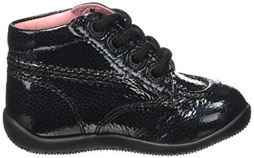 Kickers Billista, Chaussures Premiers pas bébé fille Noir (noir Vernis Perm)