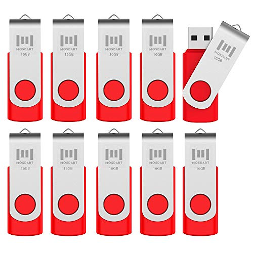 mosdart 10Stück USB 2.0Flash Drive rot 16 GB -