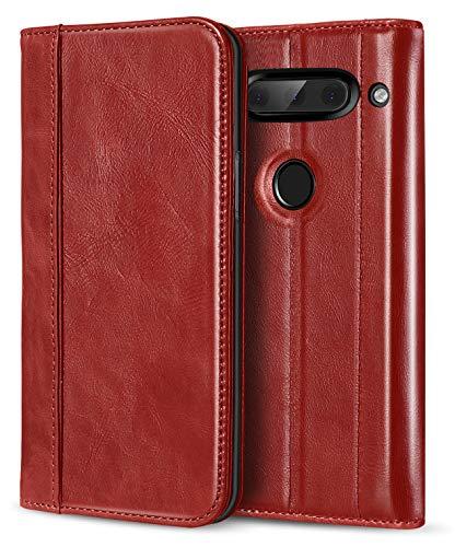 ProCase LG V40 ThinQ Echtes Leder Hülle, ProCase Vintage Geldbörse Falten Flip Case mit Kickstand und mehrere Kartensteckplätze Magnetverschluss Schutzhülle für LG V40 -Rot -