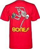 Powell-Peralta Skateboard Esqueleto Camiseta, Hombre, Rojo, Small