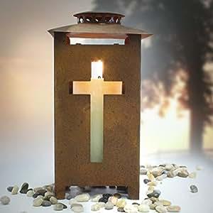 Grablaterne mit Kreuz, Metall H 25 cm