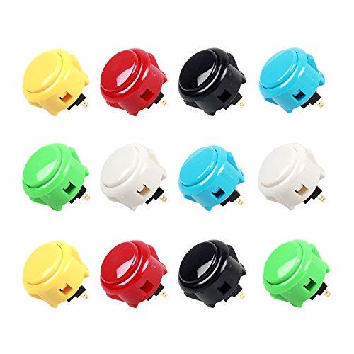 12x Sanwa OBSF-30 OEM Botón pulsador para Arcade Joystick Games Console 6 colores 30mm Botones