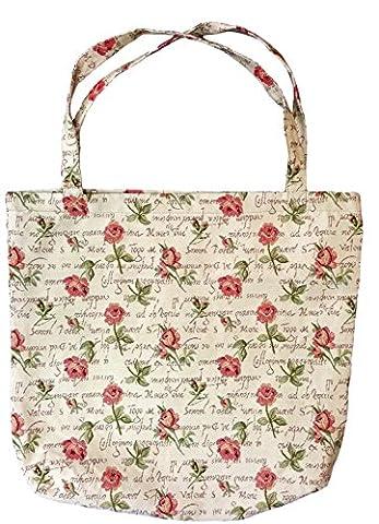 Einkaufstasche, Stofftasche Leinen 45 x 45cm, Motiv Rosen, Einkaufsbeutel Gobelin-Stil