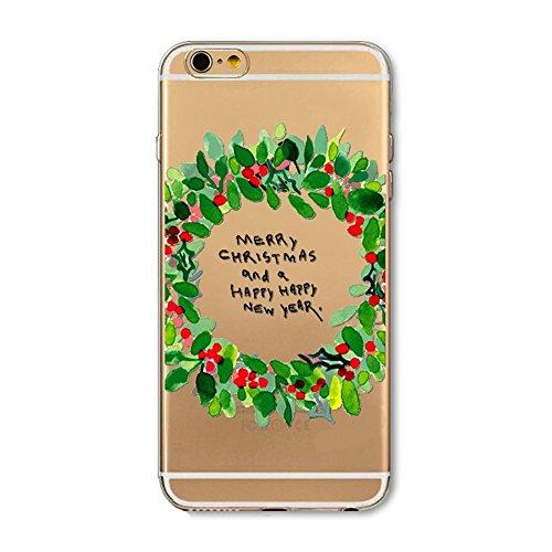 Coque Housse pour iPhone 6/6S, iPhone 6S Coque Silicone Etui Housse,iPhone 6 Souple Coque Etui en Silicone,iPhone 6/6S Silicone Transparent Case TPU Cover, Ukayfe Etui de Protection Cas en caoutchouc  Guirlande de Noël vert