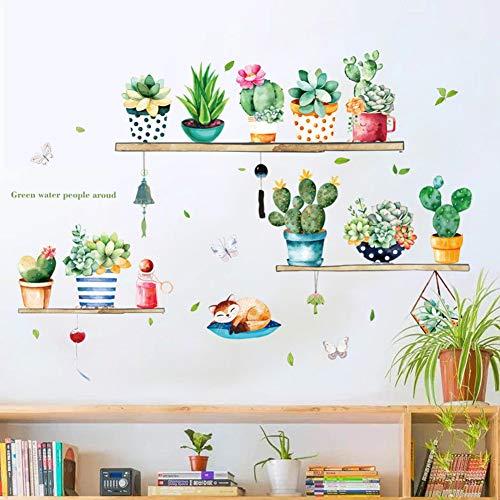 Blumen Blumentopf Wandtattoo Grüne Kaktus Pflanzen Wandsticker Entfernbarer Wandaufkleber Wanddekoration für Wohnzimmer Schlafzimmer Fenster (multicolor)