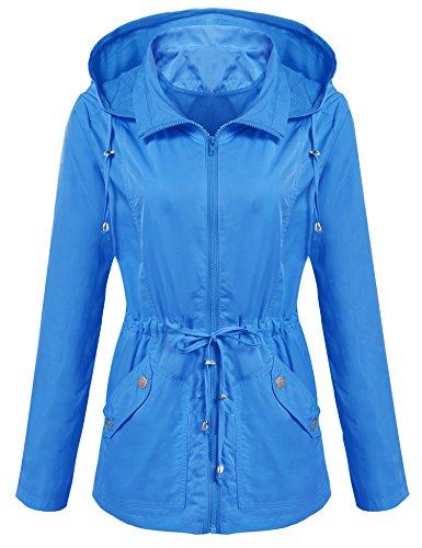 ANGVNS Damen Übergangsjacke Kapuzenjacke Anorak Windbreaker Wasserdicht Jacke Regenjacke Herbst Blau