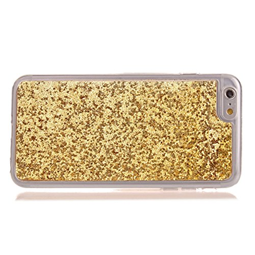 Custodia iphone 7 4.7, Cover per iphone 8 Silicone, iphone 7 Glitter Cover, MoreChioce Moda Glitter Sparkle Bling bling Brillante Morbido 3d Gel TPU Silicone Gomma Cover Case Custodia per iphone 8 4.7 C-Oro