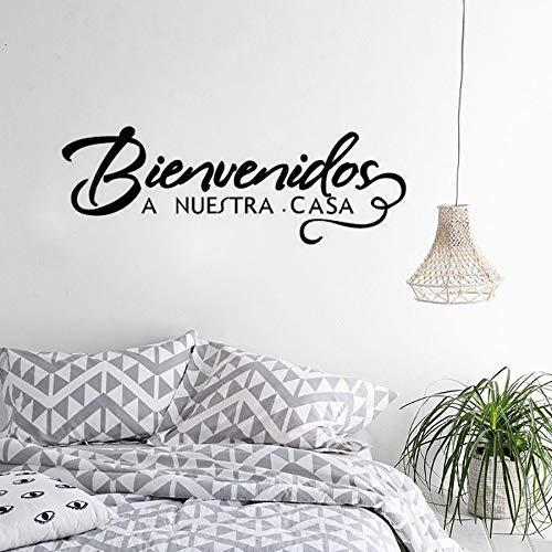m Haus Spanisch Zitat Wandaufkleber Willkommensschild Dekorative Vinyl Aufkleber Bienvenidos A Nuestra Casa Home Art 57X20Cm ()
