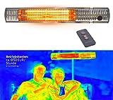 Gardigo Infrarotstrahler mit Fernbedienung | Infrarot Kurzwellen wärmen gezielt Menschen | Terrassenstrahler mit Goldröhre, Energiesparend, Keine Vorheizzeit nötig | 2000 W | Deutscher Hersteller