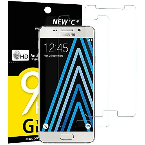 NEW'C PanzerglasFolie Schutzfolie für Samsung Galaxy A3 2016, [2 Stück] Frei von Kratzern Fingabdrücken & Öl, 9H Härte, HD Bildschirmschutzfolie, BildschirmschutzfolieSamsung A3 2016